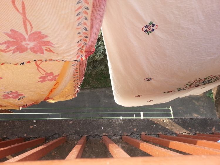 Cotton sarees hung out to dry