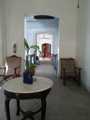 The colonial interiors of the luxury boutique hotel (Le Dupleix)