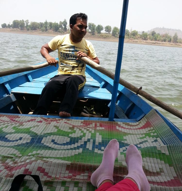 My shikara floats on the Daman Ganga River