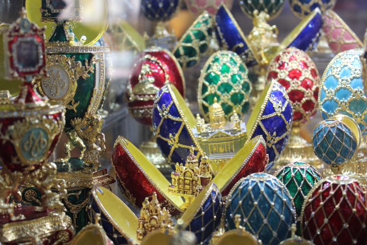 Bejeweled Easter eggs with a replica of Isaakievskiy Sobor inside