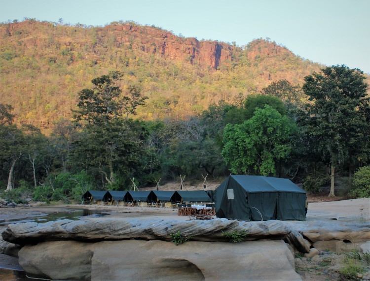 Our safari tents at the foot of the hills