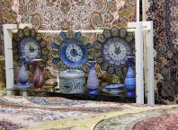 Carpets and ceramic clocks that blend into one another