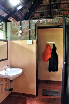 The bathrooms are earthy, yet fitted with modern amenities.